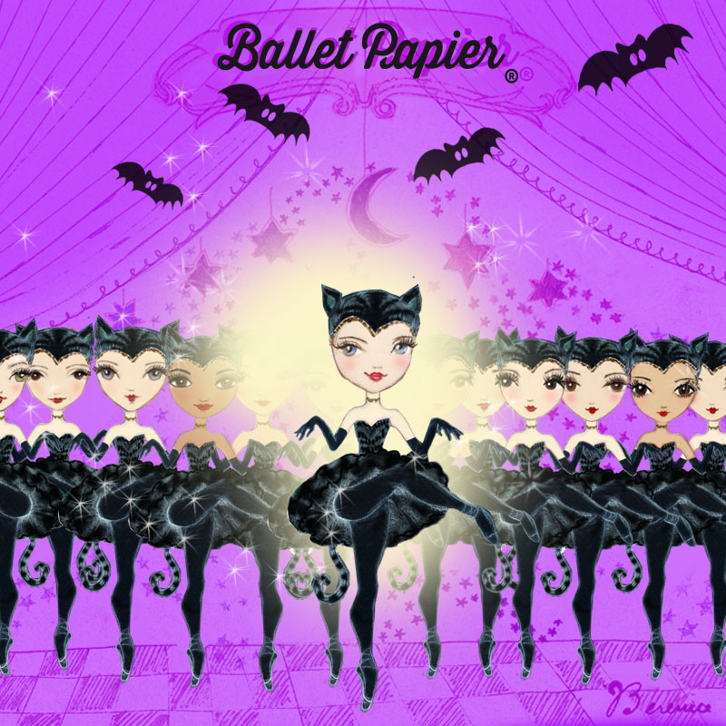 'The Lead Black Cat' illustration for Georgina Butler by Ballet Papier artist Berenice Bercelli (www.balletpapier.com). An illustration of Georgina dressed in a black tutu costume, black tights and black ballet shoes. She is wearing a black headdress in the shape of cat ears and a black tail can be seen trailing from the back of her tutu. She is standing en pointe on one leg, with her hands and arms covered in long black gloves and held out as if her hands are paws. The purple background of the illustration depicts curtains like those that frame a stage. A line of ballerinas, also dressed as cats, stands behind Georgina, who is centre-stage and dancing in the warm glow of a spotlight. Four bats are flying around above the ballerinas. The words 'Ballet Papier' are written at the top of the illustration.