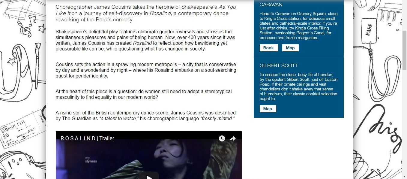 Screenshot of Culture Whisper content by Georgina Butler. Preview of James Cousins Company: Rosalind, image 2
