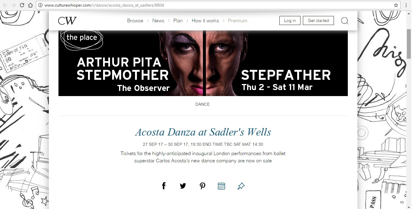 Screenshot of Culture Whisper content by Georgina Butler. Preview of Acosta Danza at Sadler's Wells, image 1