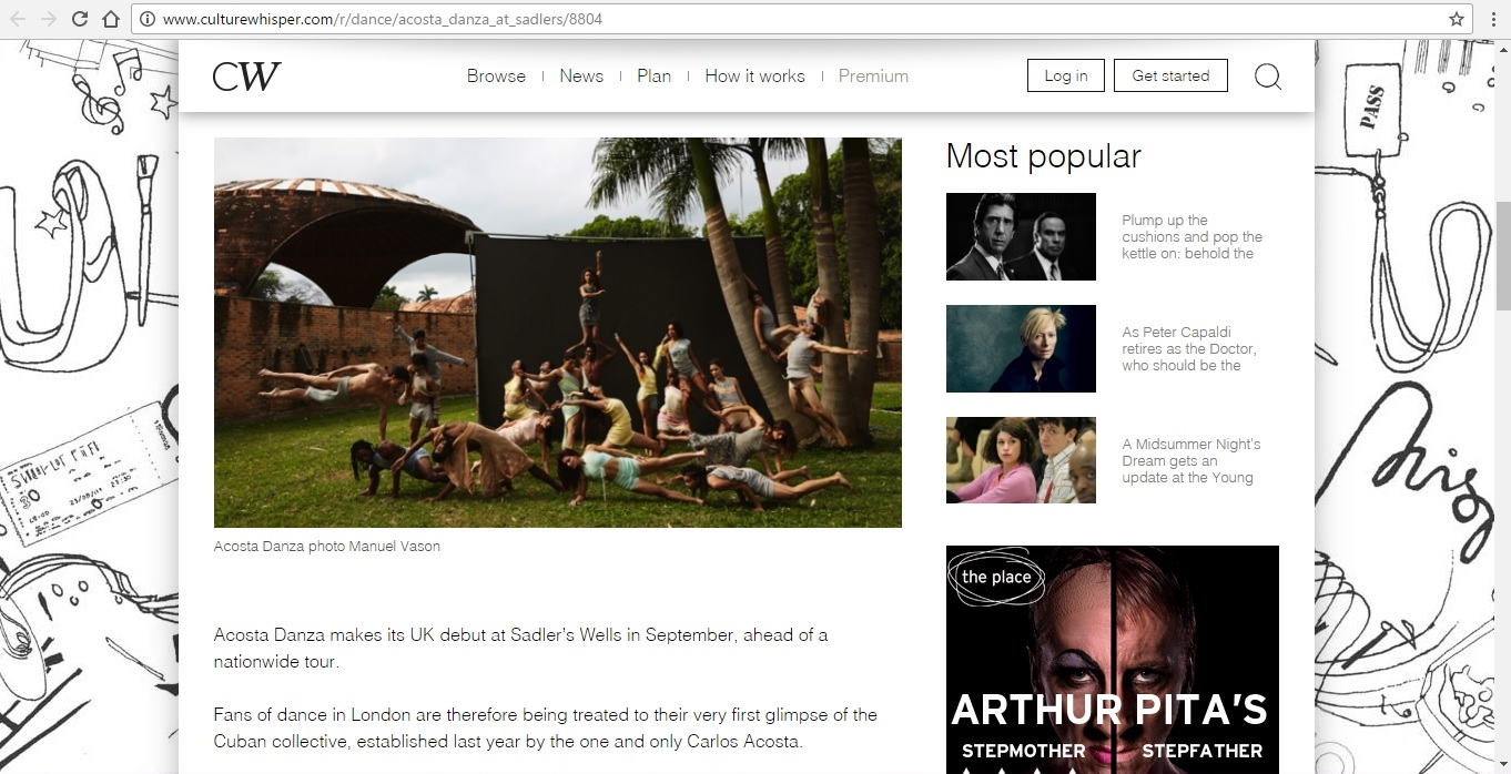 Screenshot of Culture Whisper content by Georgina Butler. Preview of Acosta Danza at Sadler's Wells, image 2