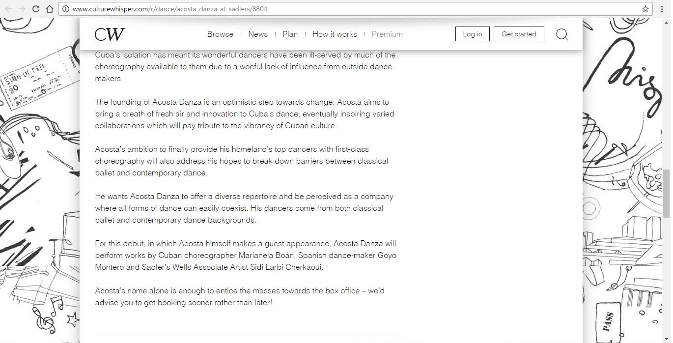 Screenshot of Culture Whisper content by Georgina Butler. Preview of Acosta Danza at Sadler's Wells, image 4