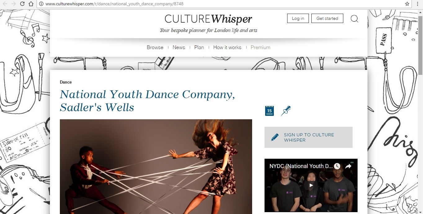 Screenshot of Culture Whisper content by Georgina Butler. Preview of National Youth Dance Company: Tarantiseismic, image 1