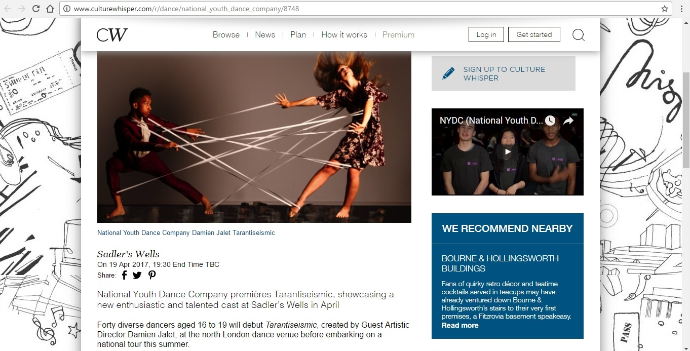 Screenshot of Culture Whisper content by Georgina Butler. Preview of National Youth Dance Company: Tarantiseismic, image 2
