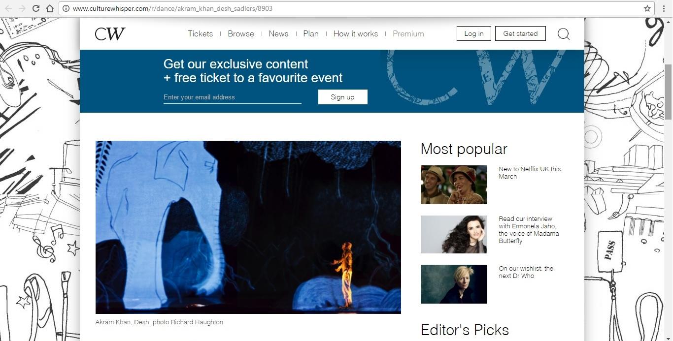 Screenshot of Culture Whisper content by Georgina Butler. Preview of Akram Khan: DESH, image 2