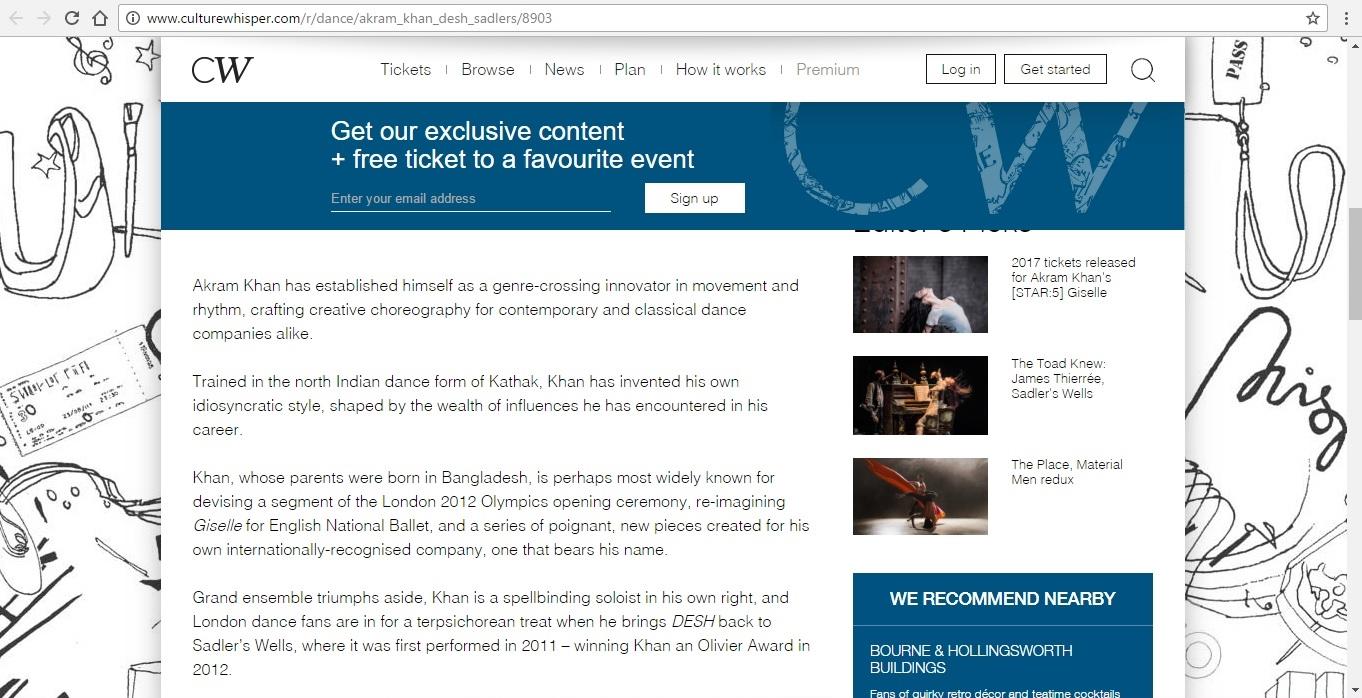 Screenshot of Culture Whisper content by Georgina Butler. Preview of Akram Khan: DESH, image 3