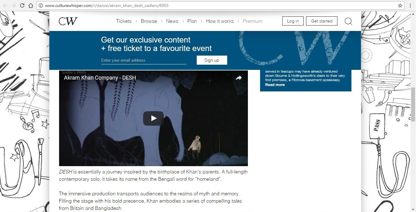 Screenshot of Culture Whisper content by Georgina Butler. Preview of Akram Khan: DESH, image 4