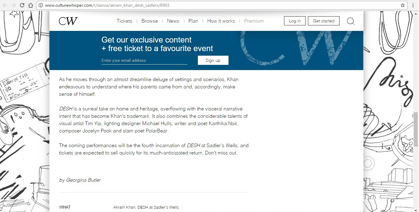 Screenshot of Culture Whisper content by Georgina Butler. Preview of Akram Khan: DESH, image 5