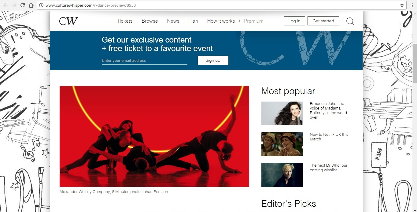Screenshot of Culture Whisper content by Georgina Butler. Preview of Alexander Whitley Company: 8 Minutes, image 2