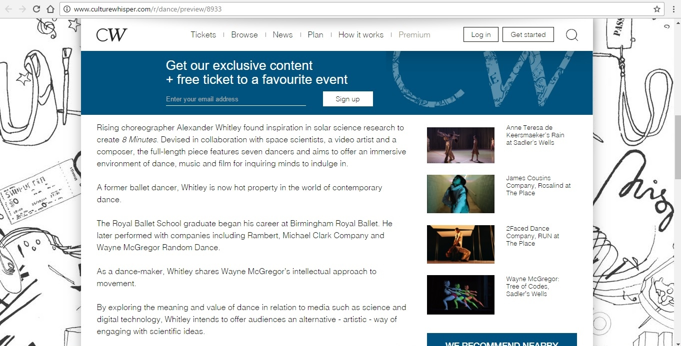 Screenshot of Culture Whisper content by Georgina Butler. Preview of Alexander Whitley Company: 8 Minutes, image 3
