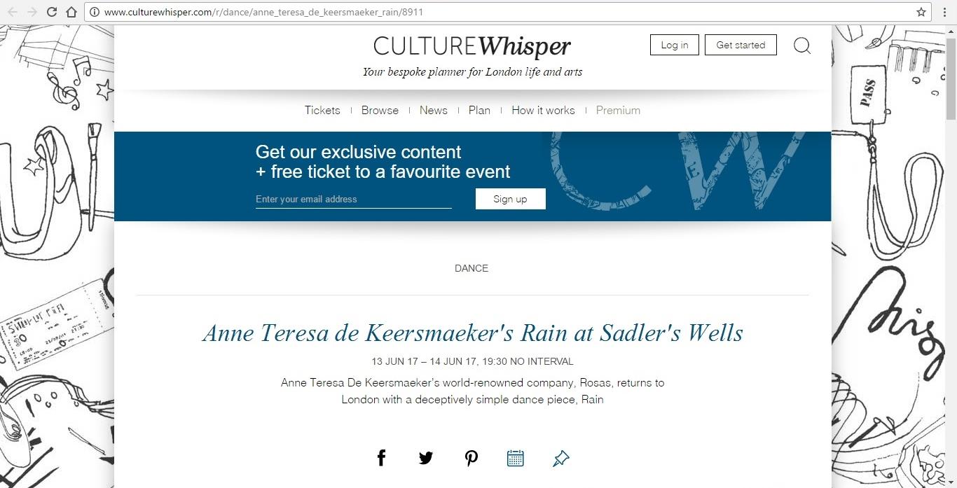 Screenshot of Culture Whisper content by Georgina Butler. Preview of Anne Teresa de Keersmaeker's Rain, image 1