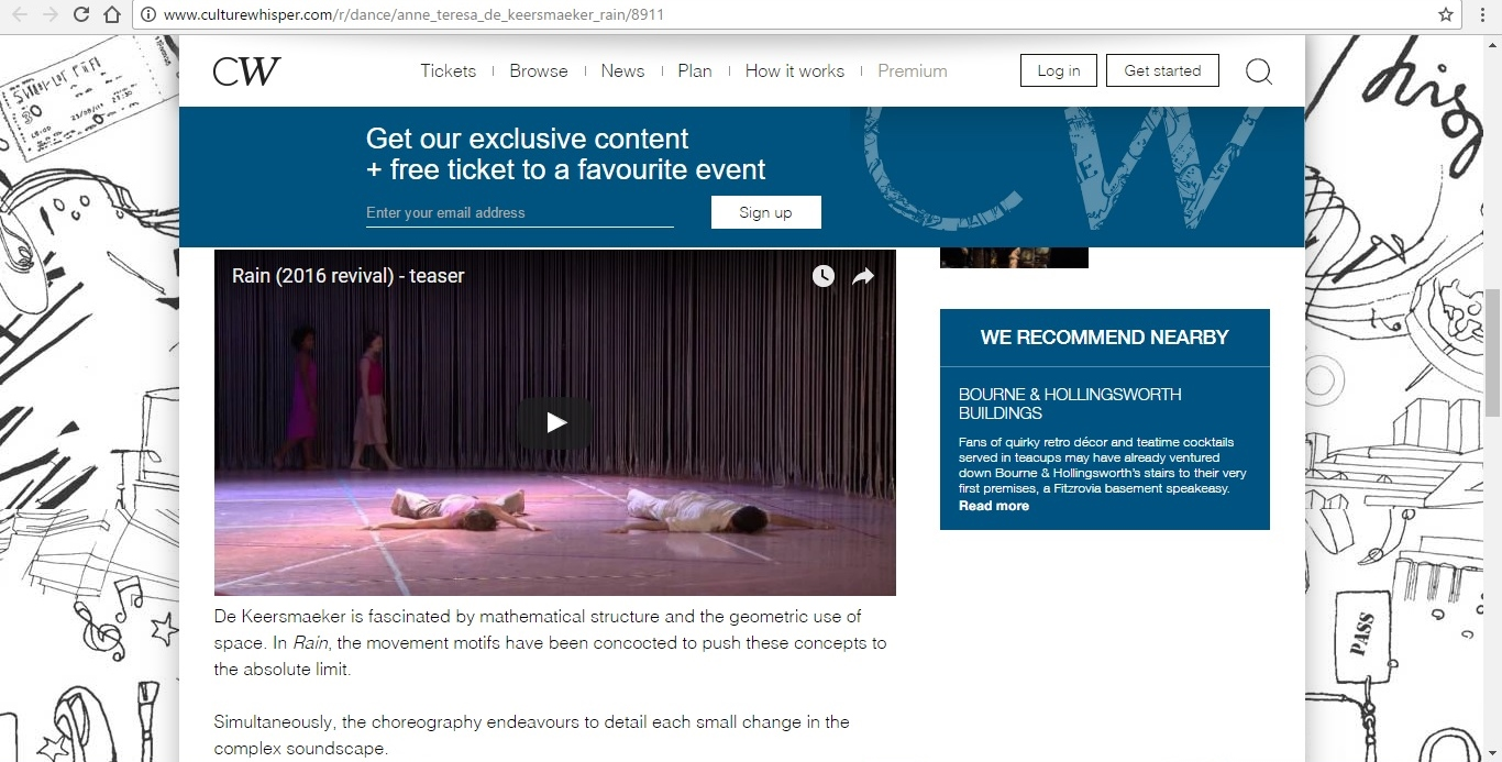 Screenshot of Culture Whisper content by Georgina Butler. Preview of Anne Teresa de Keersmaeker's Rain, image 4