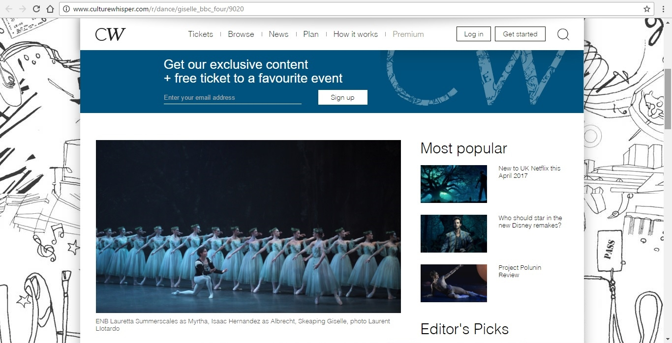 Screenshot of Culture Whisper content by Georgina Butler. Preview of Giselle: Belle of the Ballet, image 2