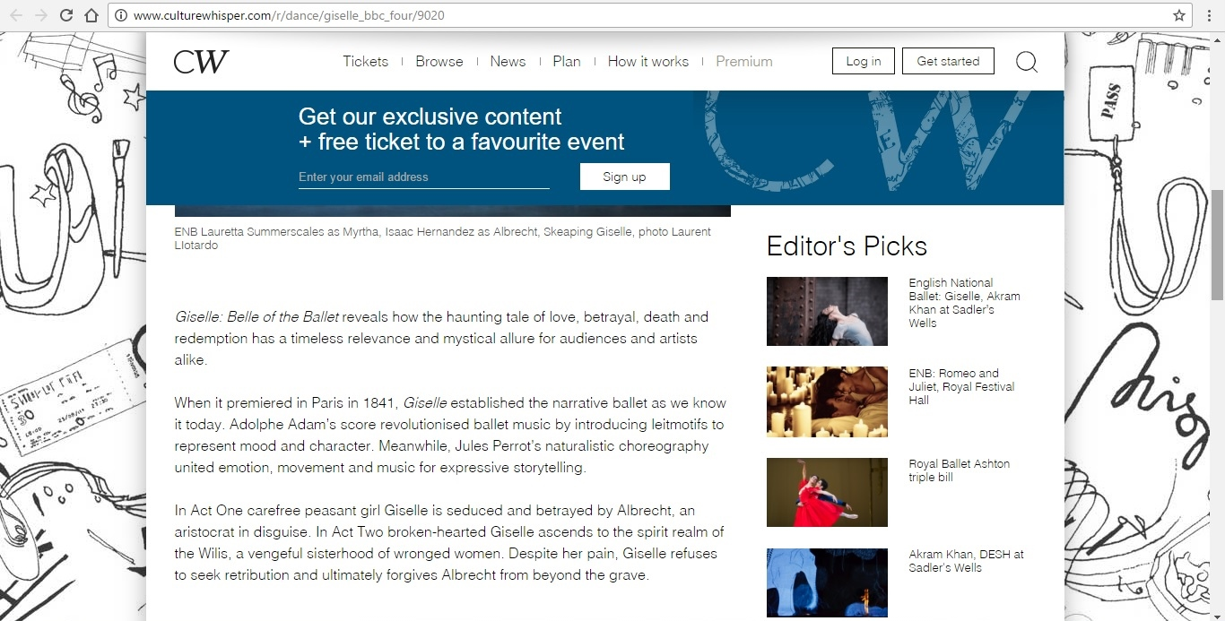 Screenshot of Culture Whisper content by Georgina Butler. Preview of Giselle: Belle of the Ballet, image 3