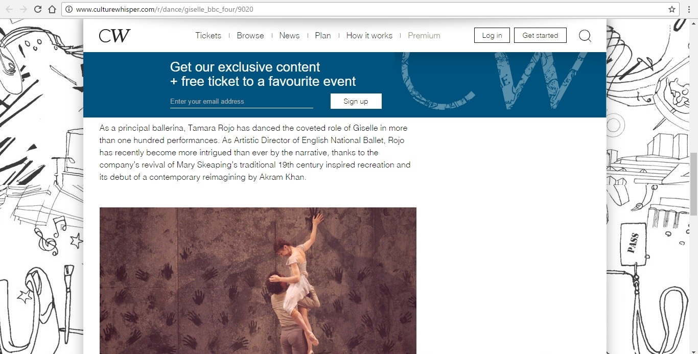 Screenshot of Culture Whisper content by Georgina Butler. Preview of Giselle: Belle of the Ballet, image 4