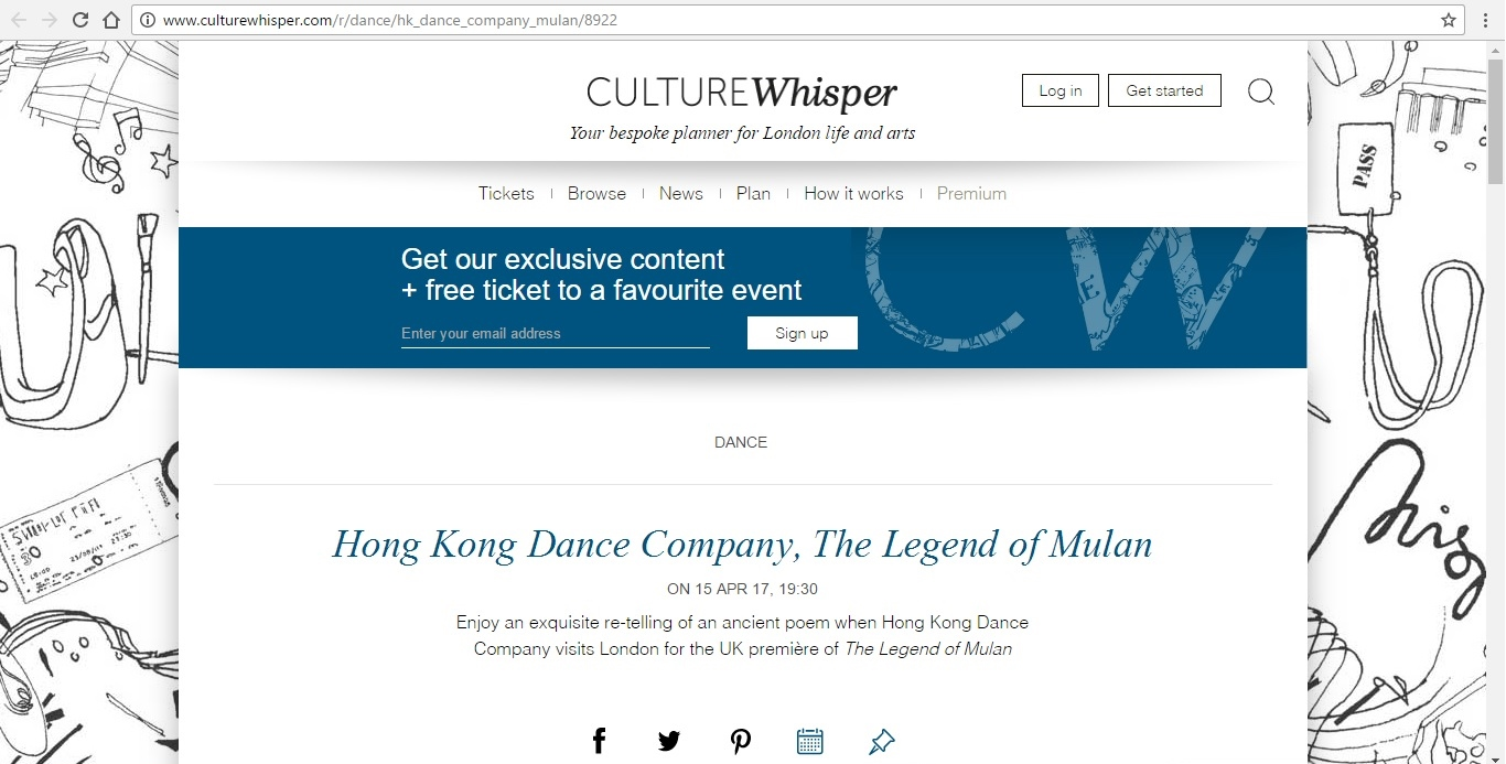 Screenshot of Culture Whisper content by Georgina Butler. Preview of Hong Kong Dance Company: The Legend of Mulan, image 1