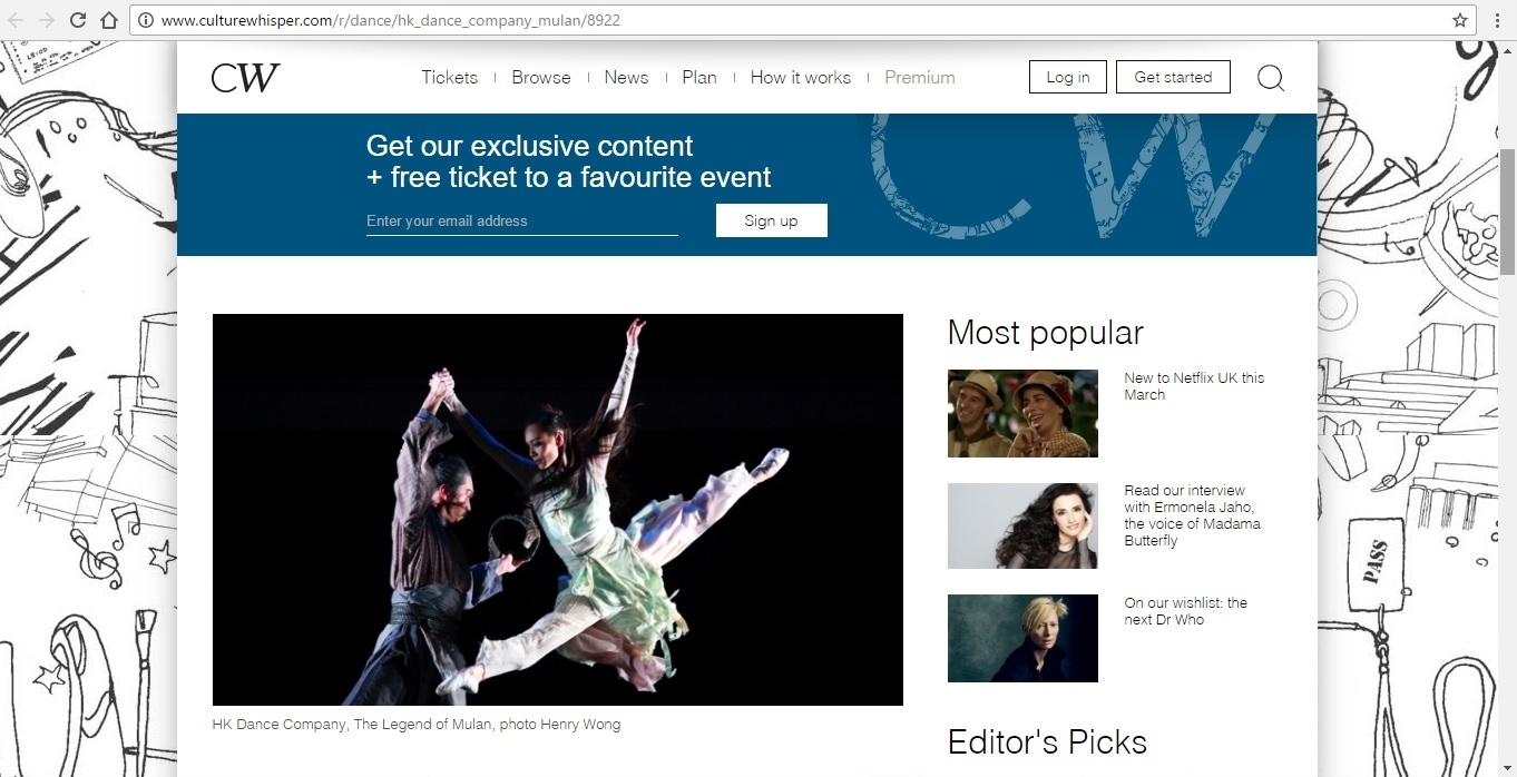 Screenshot of Culture Whisper content by Georgina Butler. Preview of Hong Kong Dance Company: The Legend of Mulan, image 2