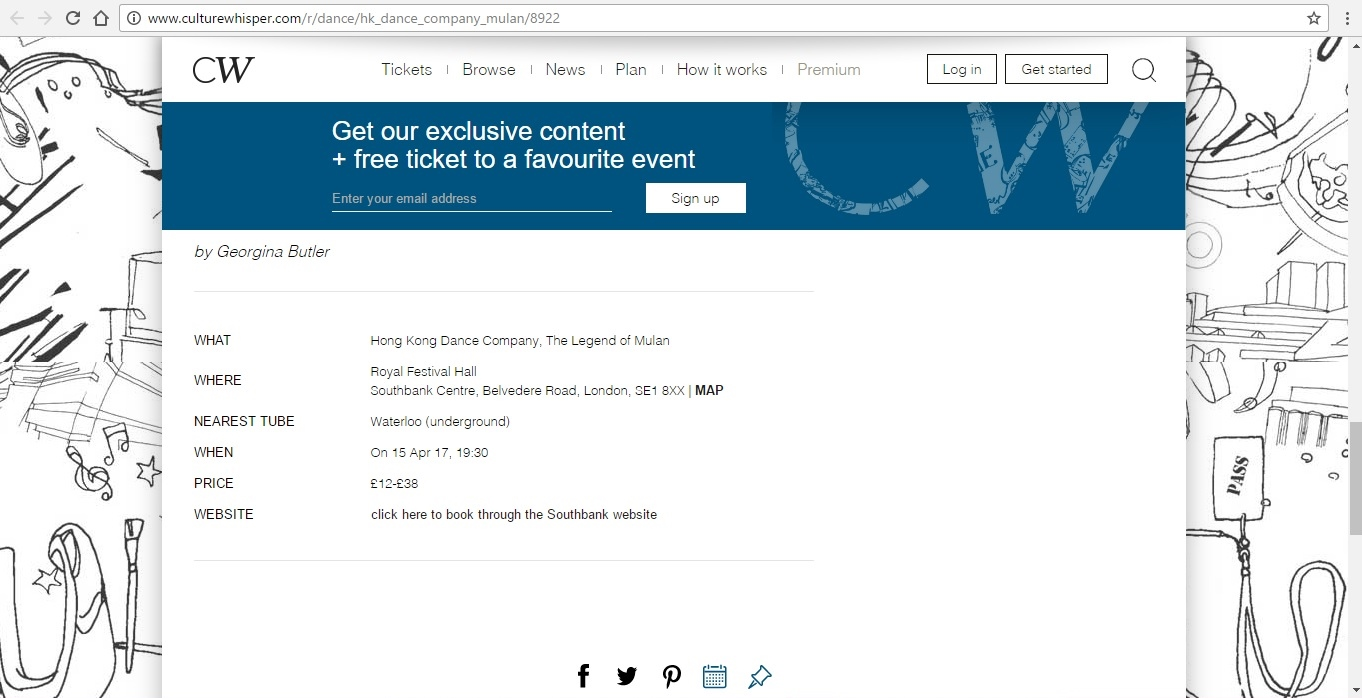 Screenshot of Culture Whisper content by Georgina Butler. Preview of Hong Kong Dance Company: The Legend of Mulan, image 6