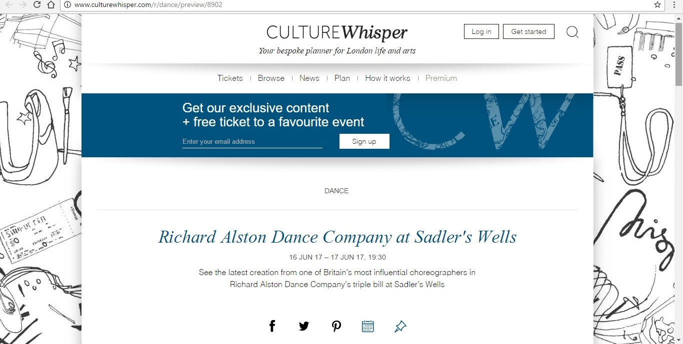 Screenshot of Culture Whisper content by Georgina Butler. Preview of Richard Alston Dance Company at Sadler's Wells, image 1
