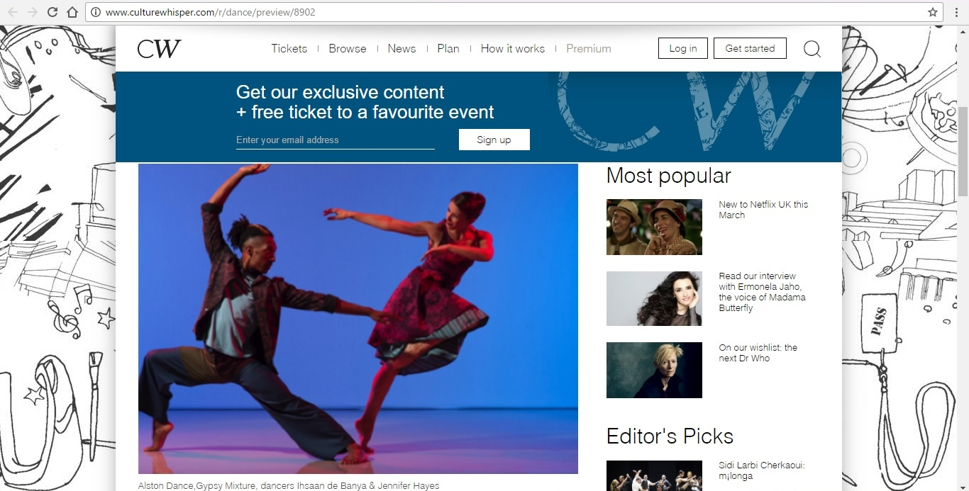 Screenshot of Culture Whisper content by Georgina Butler. Preview of Richard Alston Dance Company at Sadler's Wells, image 2