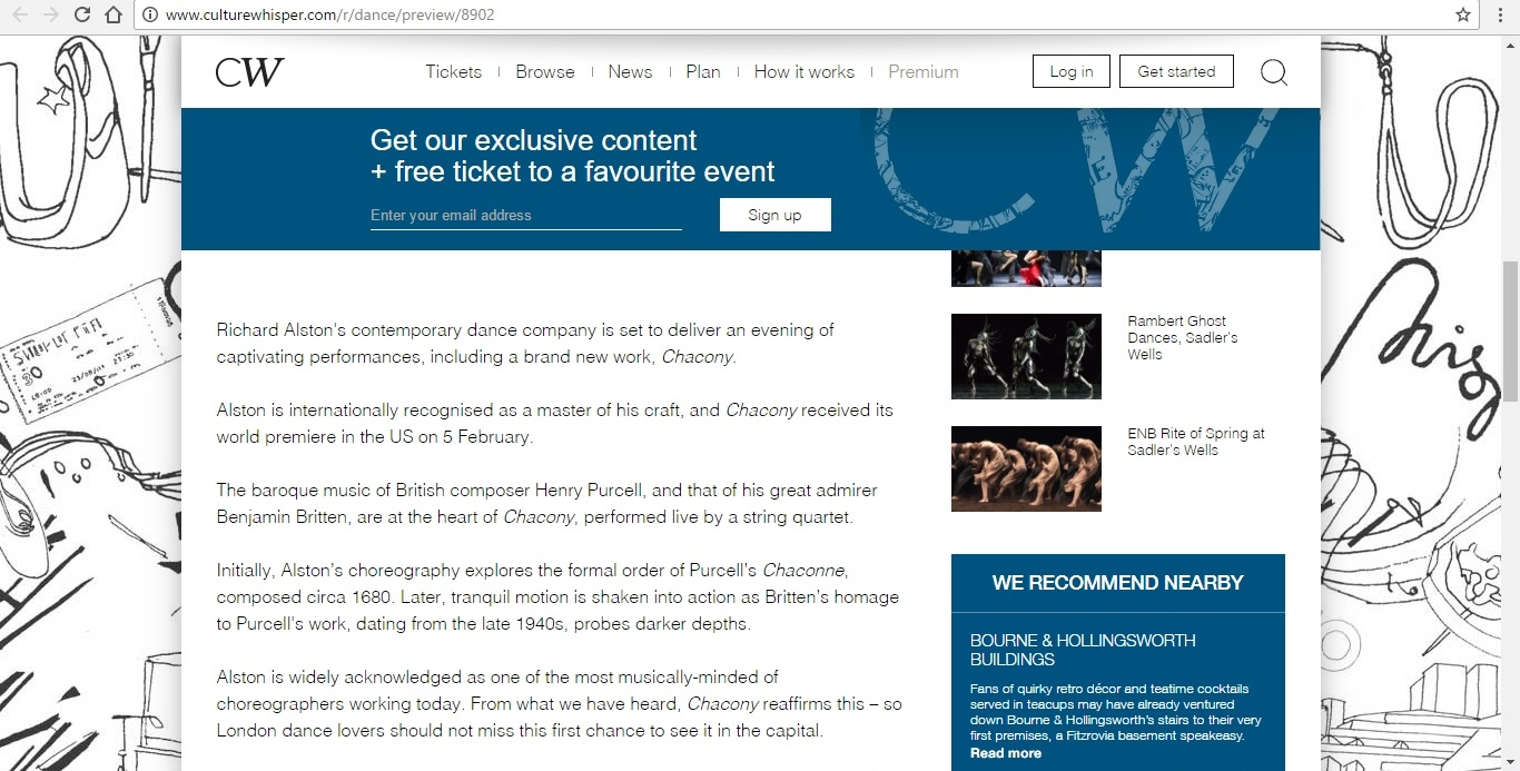 Screenshot of Culture Whisper content by Georgina Butler. Preview of Richard Alston Dance Company at Sadler's Wells, image 3