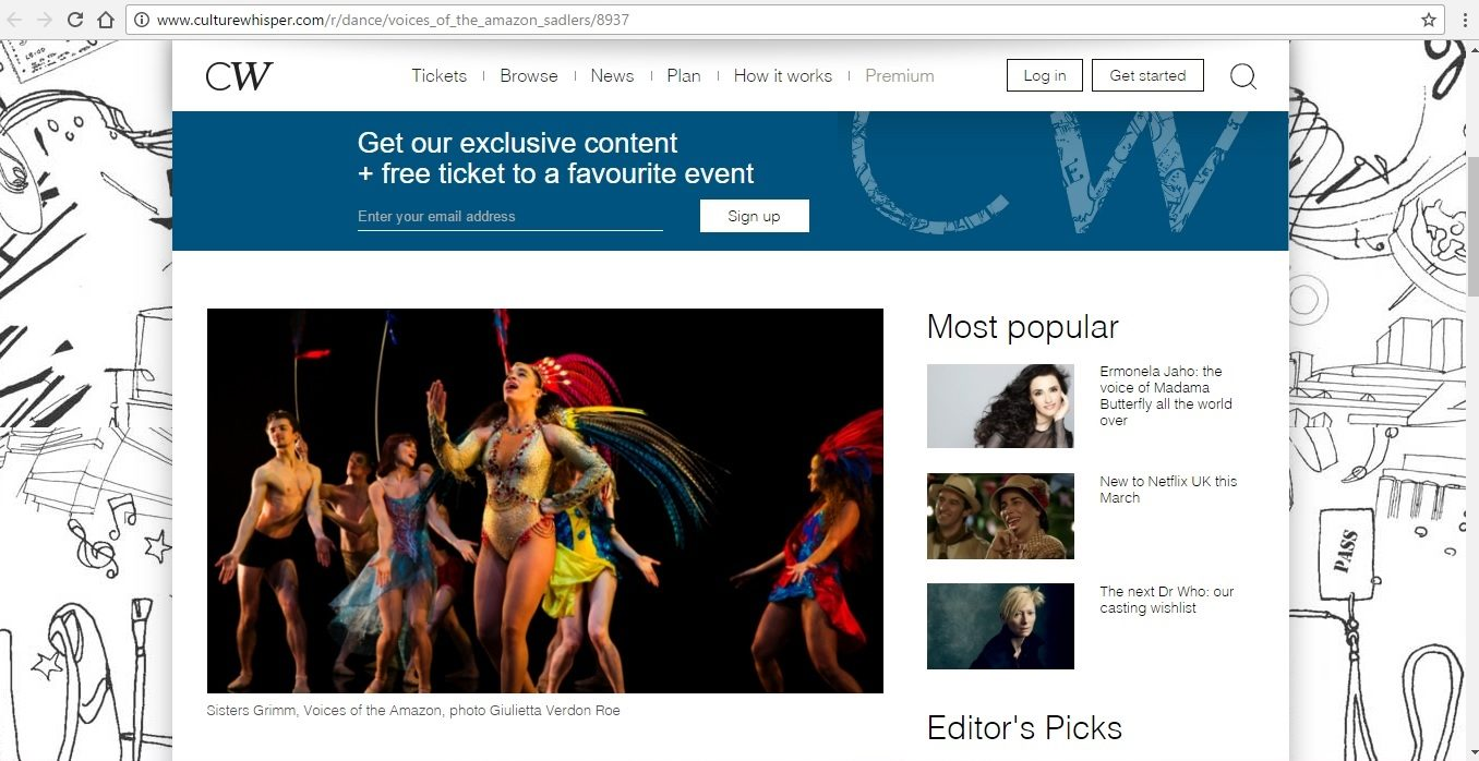 Screenshot of Culture Whisper content by Georgina Butler. Preview of Sisters Grimm: Voices of the Amazon, image 2