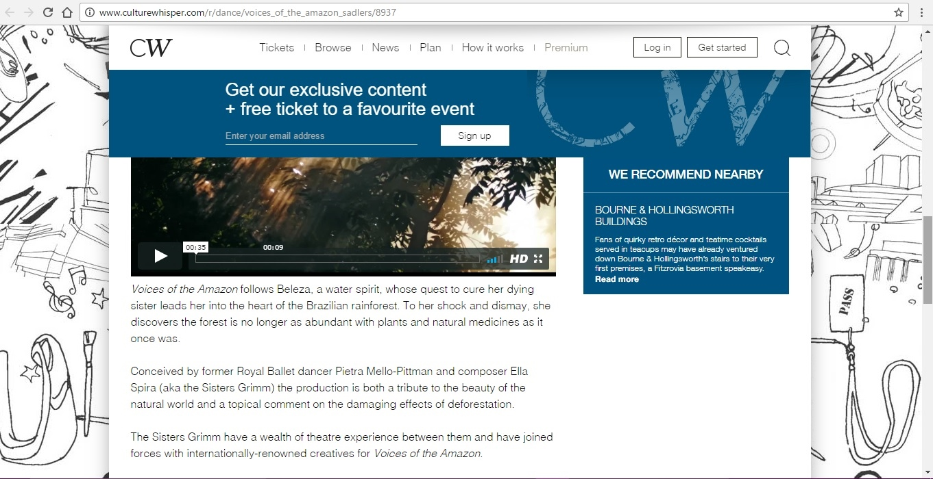 Screenshot of Culture Whisper content by Georgina Butler. Preview of Sisters Grimm: Voices of the Amazon, image 4