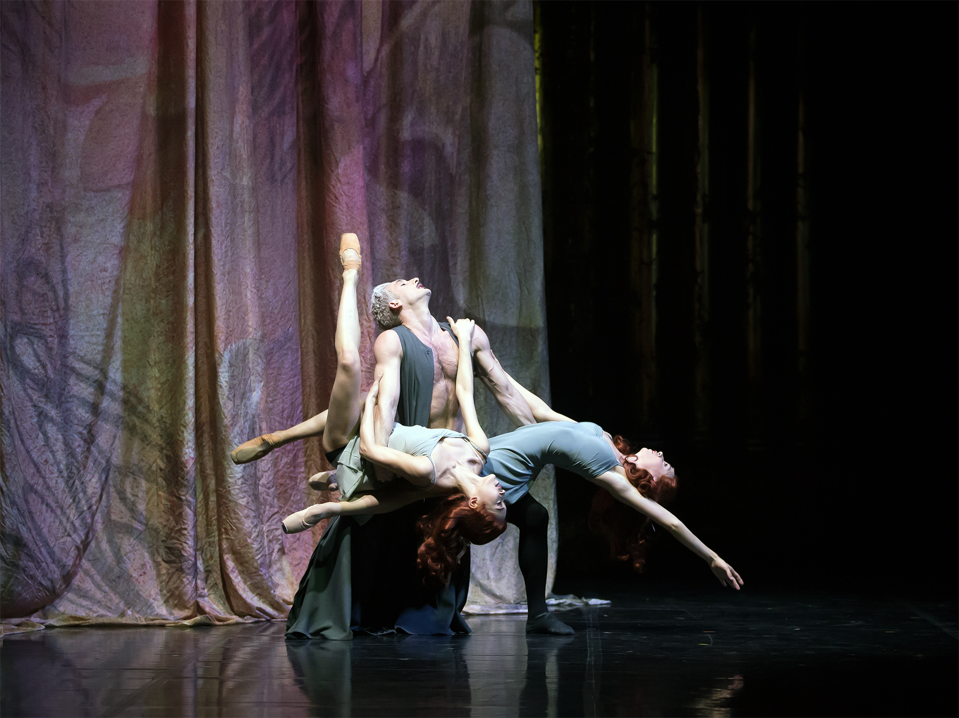 Northern Ballet's Casanova. Giuliano Contadini as Casanova with Minju Kang and Abigail Prudames as the Savorgnan Sisters. Photo by Emma Kauldhar.