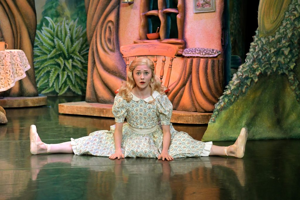 Northern Ballet's Golidlocks and the Three Bears. Jenny Hackwell as Goldilocks. Photography by Brian Slater.