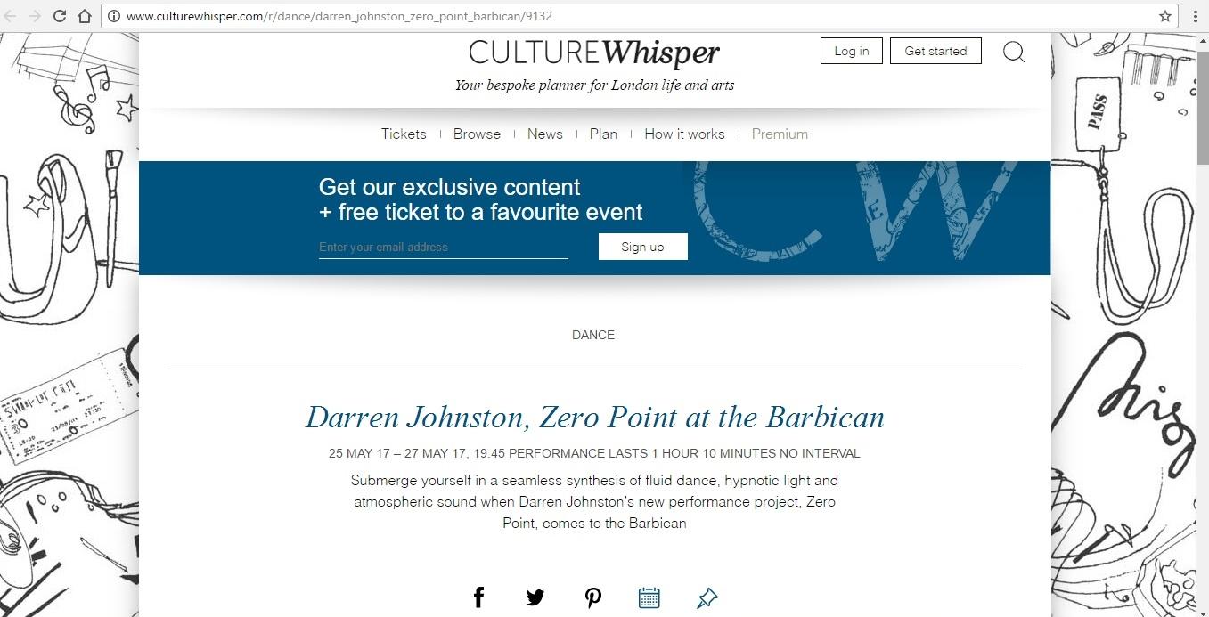 Screenshot of Culture Whisper content by Georgina Butler. Preview of Darren Johnston: Zero Point, image 1