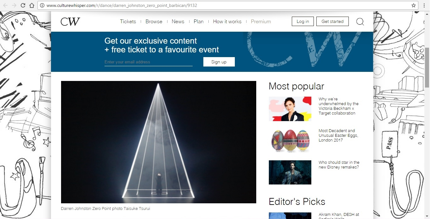Screenshot of Culture Whisper content by Georgina Butler. Preview of Darren Johnston: Zero Point, image 2