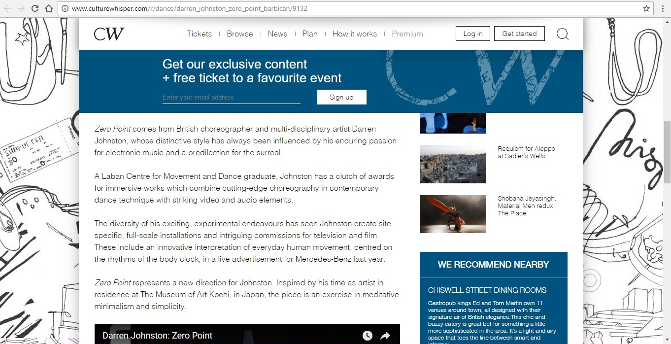 Screenshot of Culture Whisper content by Georgina Butler. Preview of Darren Johnston: Zero Point, image 3