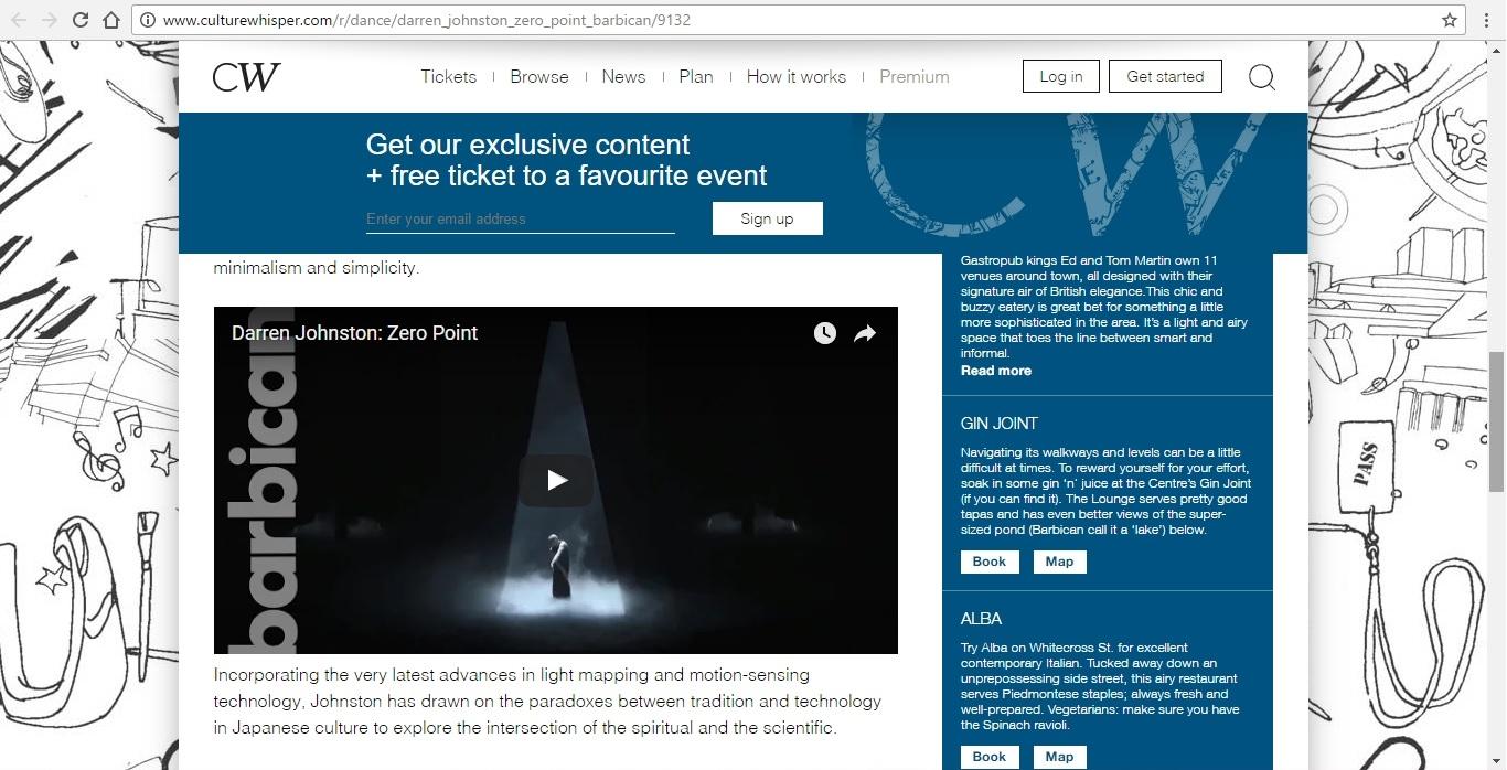 Screenshot of Culture Whisper content by Georgina Butler. Preview of Darren Johnston: Zero Point, image 4