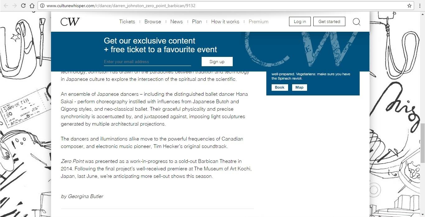 Screenshot of Culture Whisper content by Georgina Butler. Preview of Darren Johnston: Zero Point, image 5