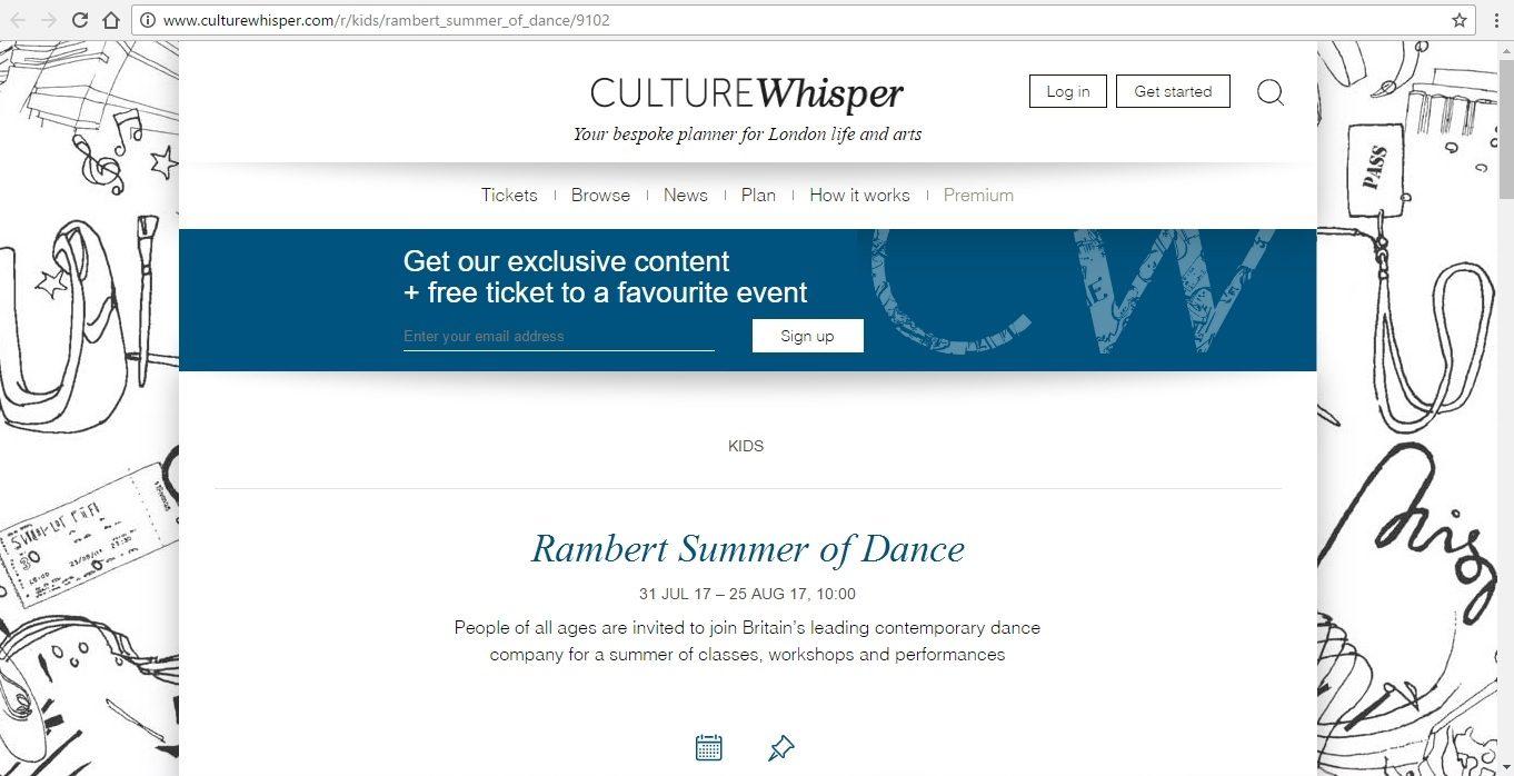 Screenshot of Culture Whisper content by Georgina Butler. Preview of Rambert Summer of Dance, image 1