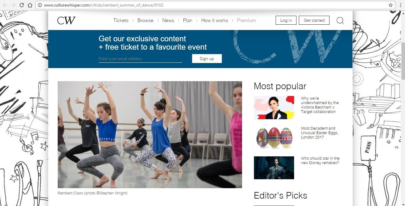 Screenshot of Culture Whisper content by Georgina Butler. Preview of Rambert Summer of Dance, image 2