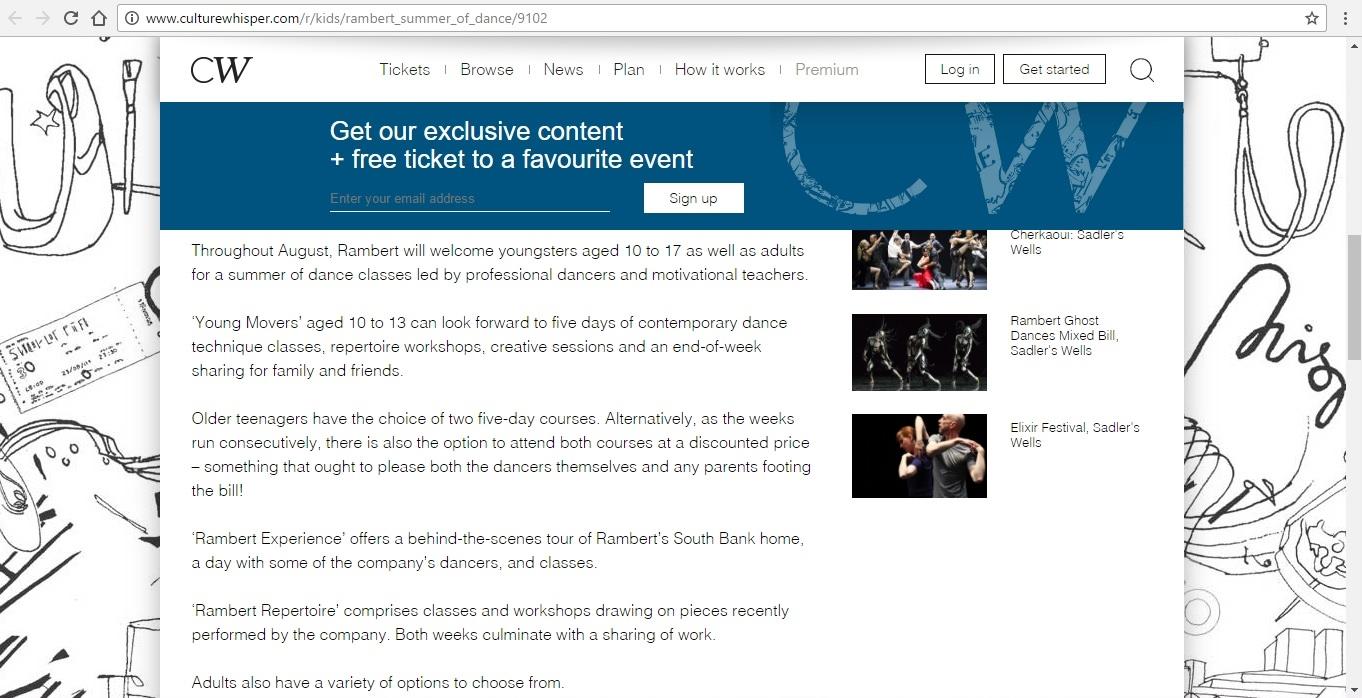 Screenshot of Culture Whisper content by Georgina Butler. Preview of Rambert Summer of Dance, image 3