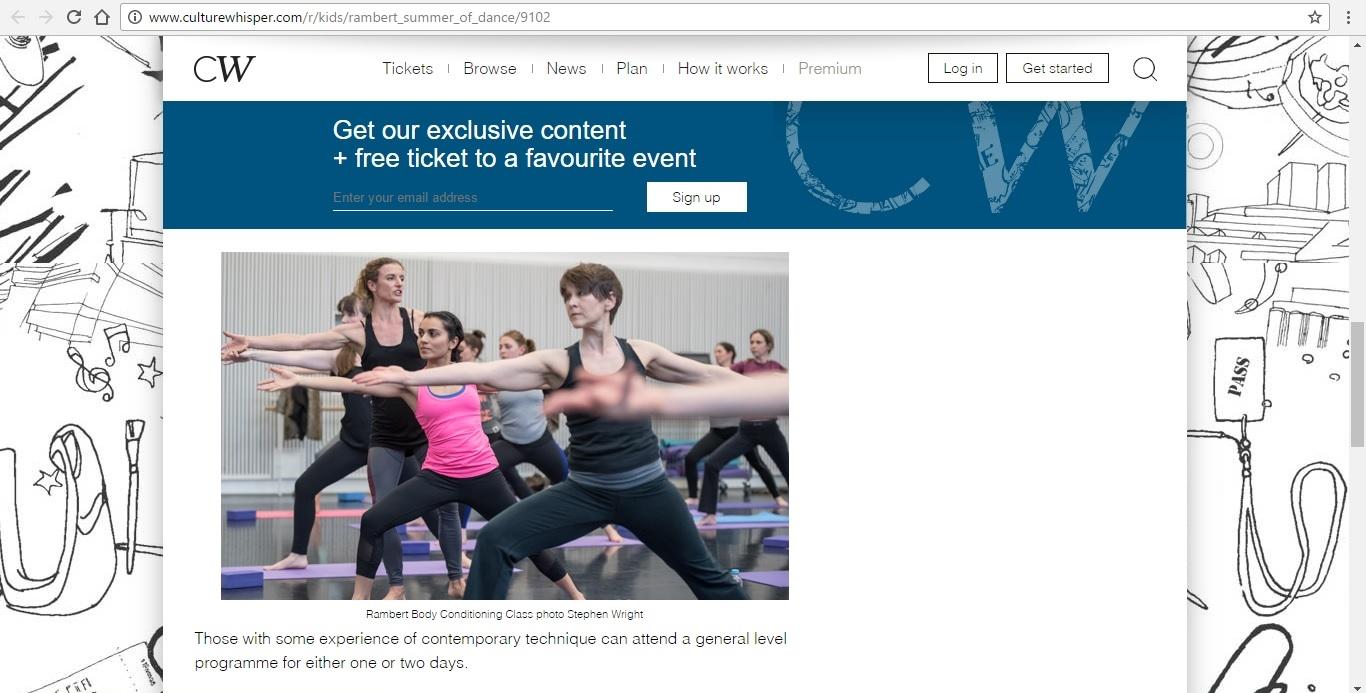 Screenshot of Culture Whisper content by Georgina Butler. Preview of Rambert Summer of Dance, image 4