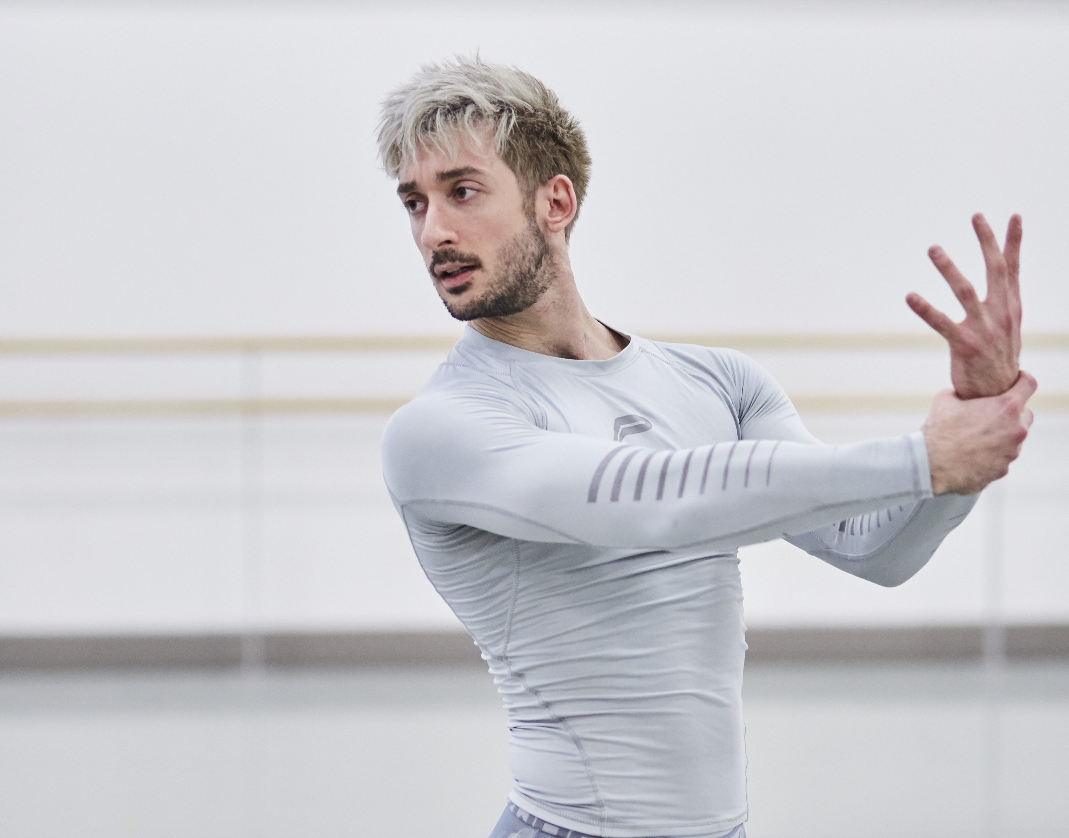 Northern Ballet dancer Giuliano Contadini rehearsing Casanova. Photo by Justin Slee.