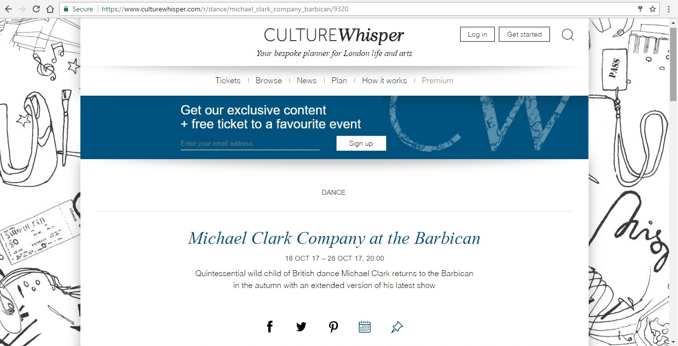 Screenshot of Culture Whisper content by Georgina Butler. Preview of Michael Clark Company at the Barbican, image 1