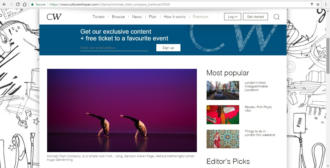 Screenshot of Culture Whisper content by Georgina Butler. Preview of Michael Clark Company at the Barbican, image 2