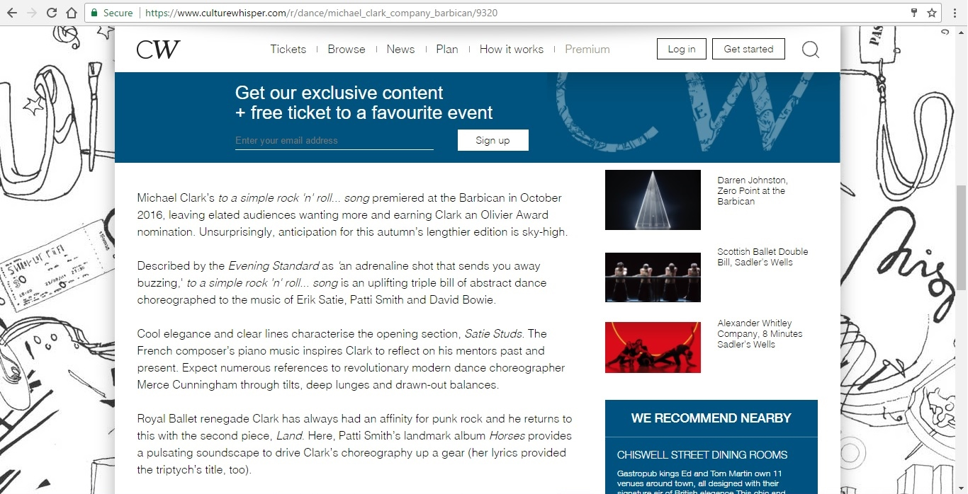 Screenshot of Culture Whisper content by Georgina Butler. Preview of Michael Clark Company at the Barbican, image 3