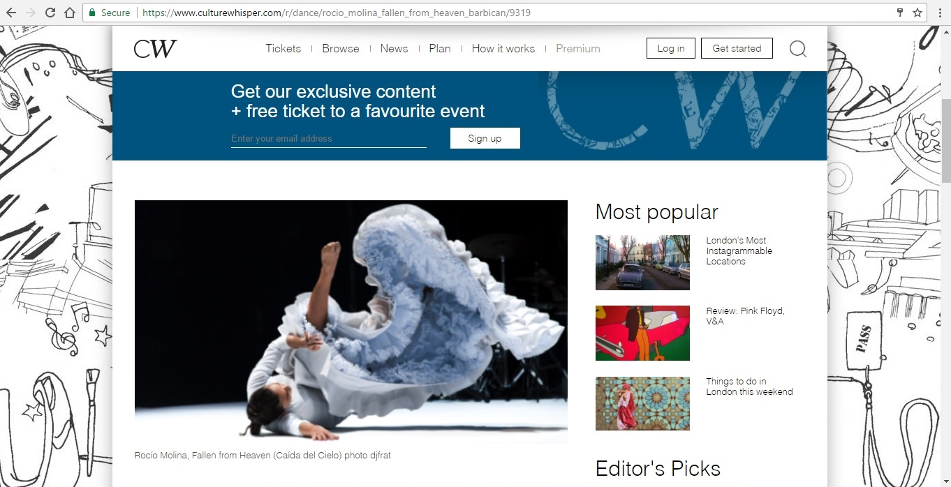 Screenshot of Culture Whisper content by Georgina Butler. Preview of Rocio Molina: Fallen from Heaven, image 2