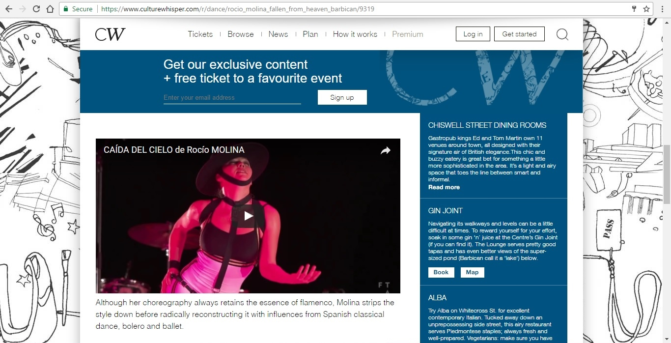 Screenshot of Culture Whisper content by Georgina Butler. Preview of Rocio Molina: Fallen from Heaven, image 4