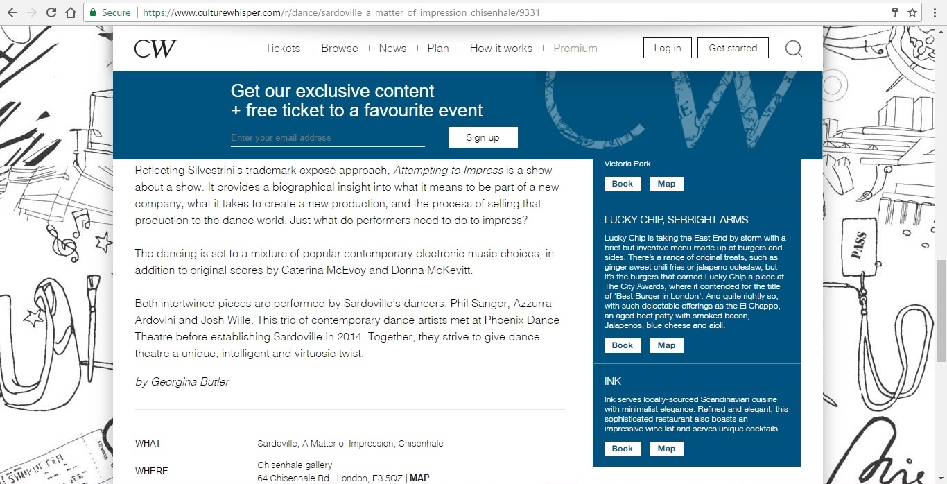 Screenshot of Culture Whisper content by Georgina Butler. Preview of Sardoville: A Matter of Impression, image 4