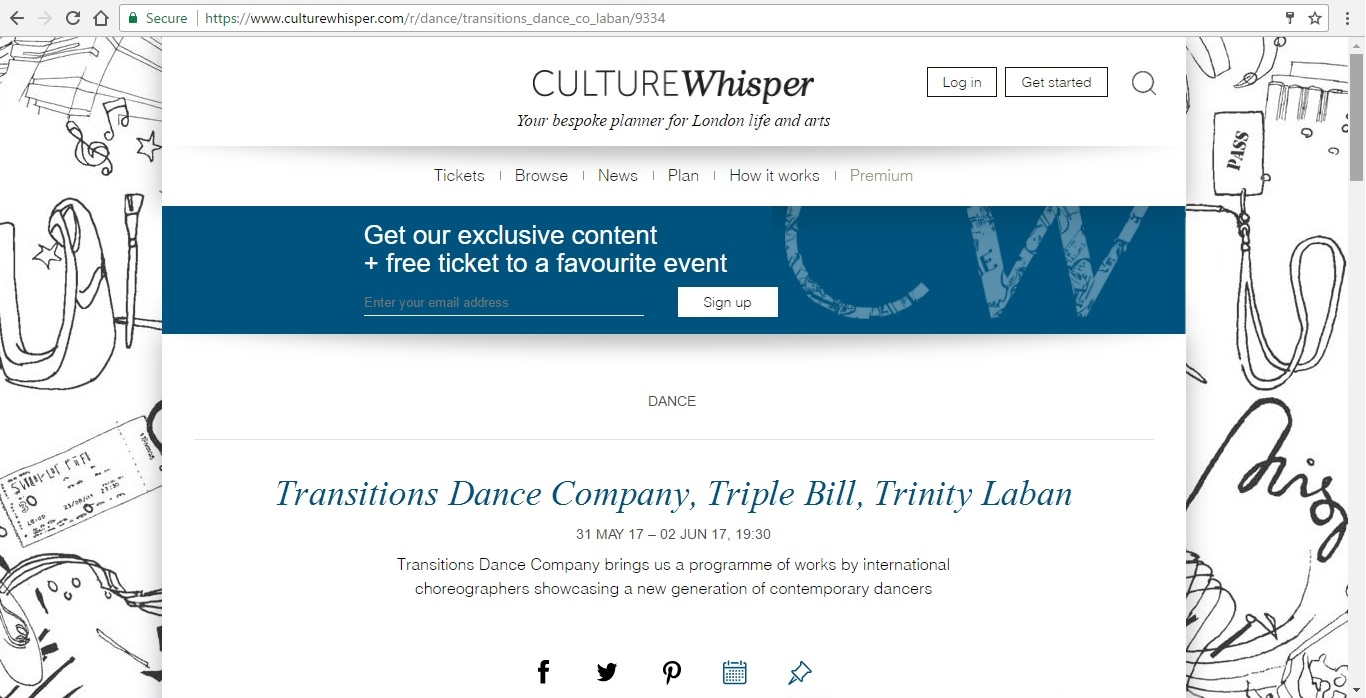 Screenshot of Culture Whisper content by Georgina Butler. Preview of Transitions Dance Company Triple Bill, image 1