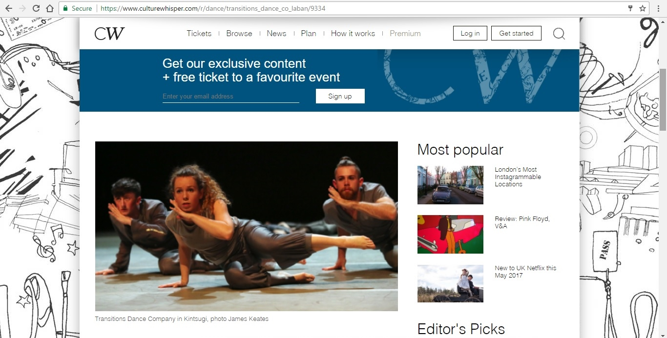 Screenshot of Culture Whisper content by Georgina Butler. Preview of Transitions Dance Company Triple Bill, image 2