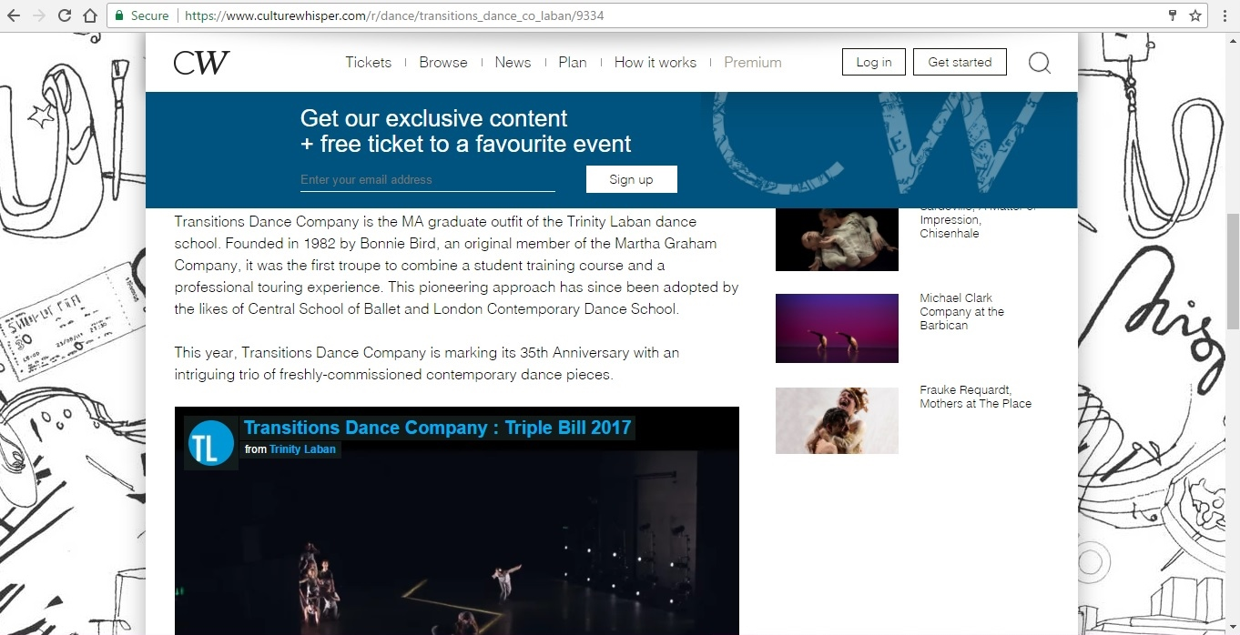 Screenshot of Culture Whisper content by Georgina Butler. Preview of Transitions Dance Company Triple Bill, image 3