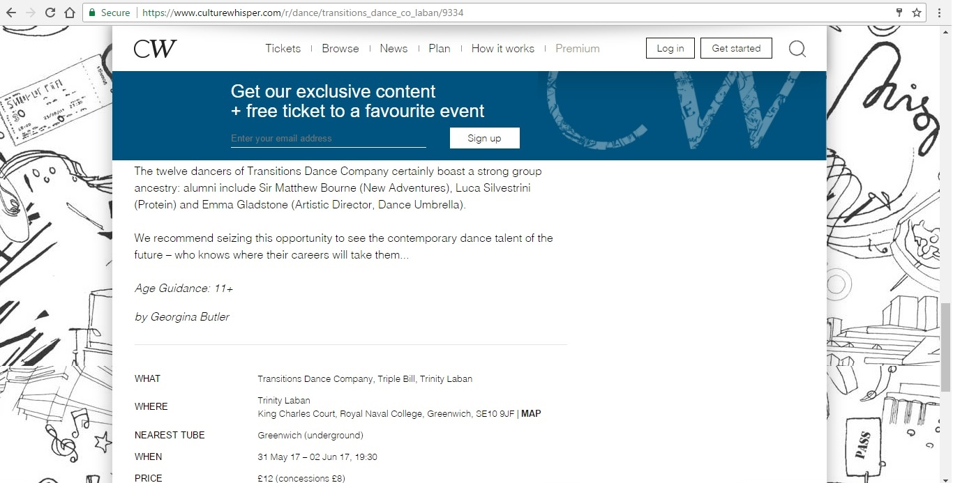 Screenshot of Culture Whisper content by Georgina Butler. Preview of Transitions Dance Company Triple Bill, image 5