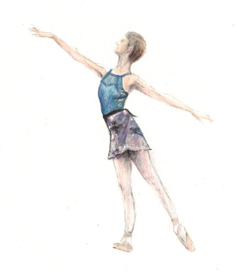 A painting of Georgina Butler by Olivia Holland. Georgina is depicted wearing a blue leotard, black-and-white skirt, pink ballet tights and ballet shoes. She is standing sideways to the viewer in an arabesque à terre pose.