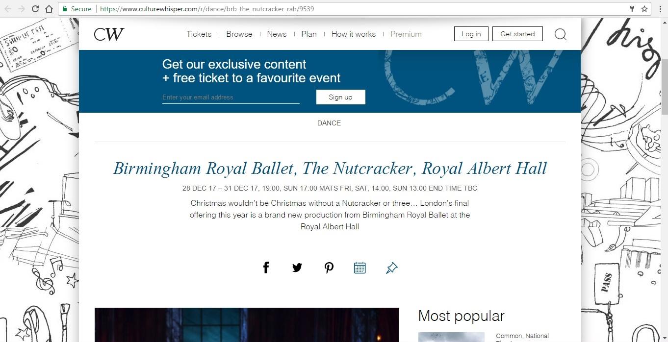 Screenshot of Culture Whisper content by Georgina Butler. Preview of Birmingham Royal Ballet: The Nutcracker, image 1